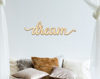 Lovely Dream Charlie Script Wood Sign   Wood Sign Art, Wooden Sign, Laser Cut  Wood, Wood Decor, Art Room Sign, Dream Sign, Gallery Wall Sign