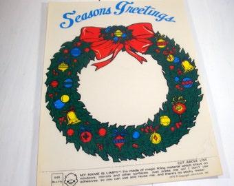 Vintage Limpy Klings, Seasons Greetings, Holiday Decor, Wreath, Window Stickers, Clings, Christmas Decoration, Retro 1970's, NOS   (8701)