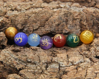 7 Chakra Bracelet Beads With Engraved - 7 Chakra Healing  - Crystal Healing Kit - Seven Chakra - Healing Crystal Set - Beads For DIY
