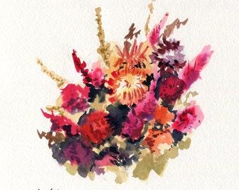 8x8 Original Watercolor Painting - Flowers