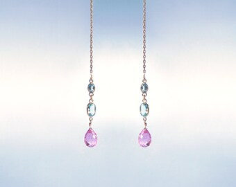 14k gold threader earrings, gemstone pink topaz blue topaz solid gold jewelry long chain delicate earrings. Maria Cossutta