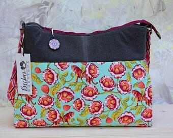 Shoulder bag, handbag,  Mid-size bag, 2 zipper pockets, slip pockets, tiger fabric, red flower, top zipper, everyday purse, ready to ship