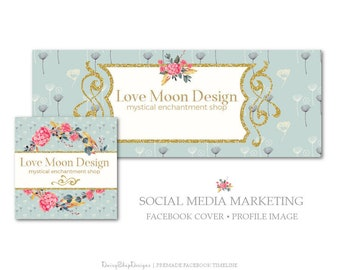 Facebook Cover,Profile Image,Social Media Marketing-Floral,Laurel Wreath,Glitter Frame-Gold,Grayish Cyan-Facebook Storefront