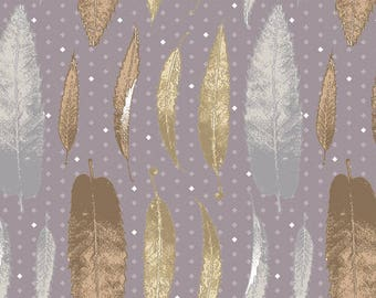 patchwork fabric grey, with feathers, Matt Rossi for Andover fabrics revedepatch