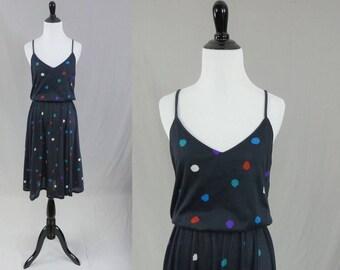 70s Polkadot Dress - Dark Charcoal Gray - Blue Red Purple Green White Polka Dots - Spaghetti Straps - Janelle - Vintage 1970s - S