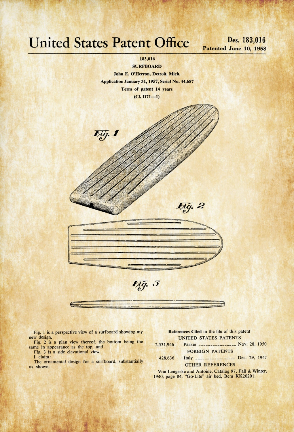 Surfboard Patent 1958 Patent Print Wall Decor Beach House
