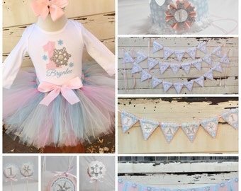 Winter Onederland Girl Complete Party Package, 1st Birthday Girl, Tutu Set, Crown, Banner, Photo Banner, Cupcake Cake Topper, Favor Tags