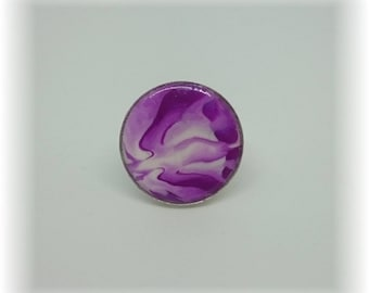 The heart of a flower - ring 19 mm adjustable - purple and white
