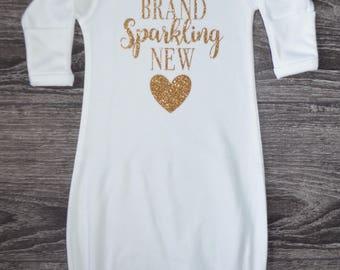 Brand Sparkling New Onesie Gown, Newborn Onesie, Newborn Hospital Outfit