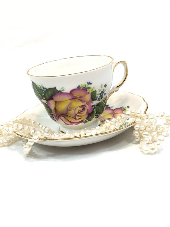 Royal Vale English Tea Cup, Large Pink Yellow Roses, Tiny Blue Flowers Green Leaves, Shabby Chic Tea Party, 1950s Vintage Bone China