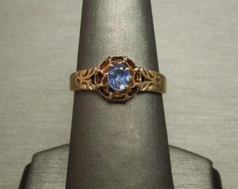 Antique Victorian Estate C1880 10K Gold 0.50ct Oval Cornflower Blue Ceylon Sapphire Solitaire Buttercup Engagement Ring Sz 8.5