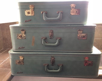 Rare Vintage 1950s Fam-Line 3-PC Luggage/Suitcase Set