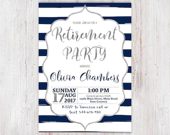Printable Silver & Navy Blue Retirement Party Invites, Retirement Invitations, Elegant Navy Retirement Invitation 11