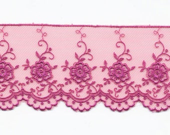 "Lace on Tulle Fuchsia ""Valencia"" by the yard"