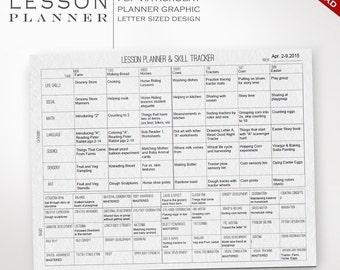 Preschool Lesson Planner & Skill Tracking Progress - Prek Printable Preschool Planner Montessori Waldorf Unschool Kindergarten Curriculum