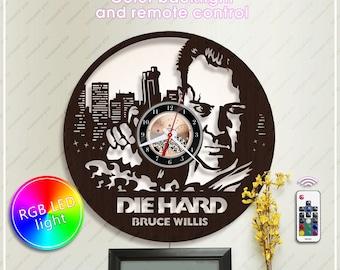 Die Hard Clock  Wooden Clock Die Hard Gift  Wall Clock *w107 Handmade Clock with Backlight