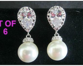 Bridesmaid Earrings Set of 6, Pearl Bridesmaids Earrings, Six Pairs Earrings, Bridesmaid Gifts, Swarovski Pearl Drop Earrings, 20% Off
