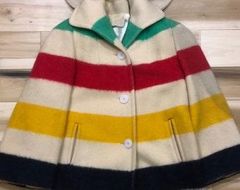 Hudson's Bay Coat Point Blanket Jacket 100% All Wool Stripe Coat w/ hood