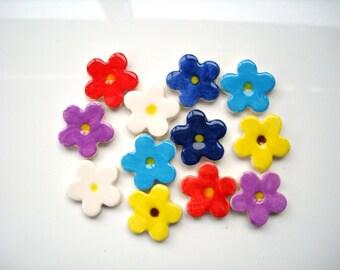 12 mosaic flower tiles, handmade, pretty, ceramic, large blossom shapes
