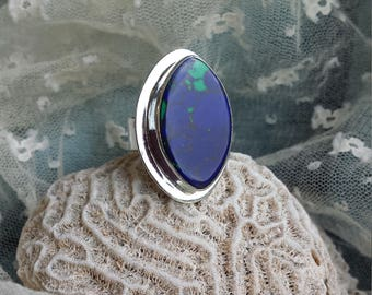 Sterling silver Azurite wide band ring, size 6