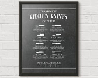 Chef Knife, Cooking Knife, Butcher Knives, Kitchen Knife Chart, Butcher Print, Kitchen Diagram, Kitchen Chart, Unique Cooking Gift, KPC14