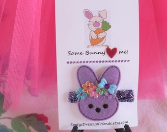 Some Bunny Loves Me- Lavender Felt Hair Clip