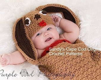 Puppy Cocoon and Beanie Crochet Pattern PDF 345