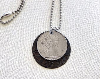 Italian Coin, Italy, Coin Necklace, Travel Jewelry, Coin Jewelry, 1965