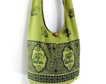 Women bag Handbags Cotton Elephant bag Hippie bag Hobo bag Boho bag Shoulder bag Sling bag Messenger bag Tote Crossbody bag Purse Pea Green