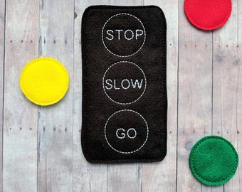 Traffic Light Matching Game, Embroidered Acrylic Felt, Match Light Colors to Words, Educational Preschool Game, Made in USA