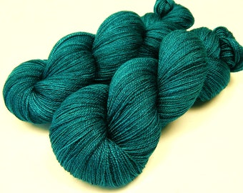 Hand Dyed Lace Yarn, Lace Weight Superwash BFL Wool Silk Yarn - Deep Sea Tonal - Luxury Knitting Yarn, Blue Green Turquoise Hand Dyed Yarn
