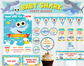 Super Simple Songs Baby Shark EDITABLE Birthday Party Bundle/ Party Set/ Party Kit Printable