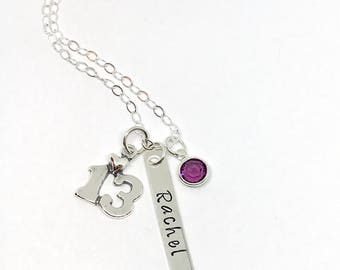 Bar/Bat Mitzvah  Personalized Necklace - Unique 13th Birthday Gift - Custom Birthstone Jewelry -  Teen Bar Name Necklace - Personalized