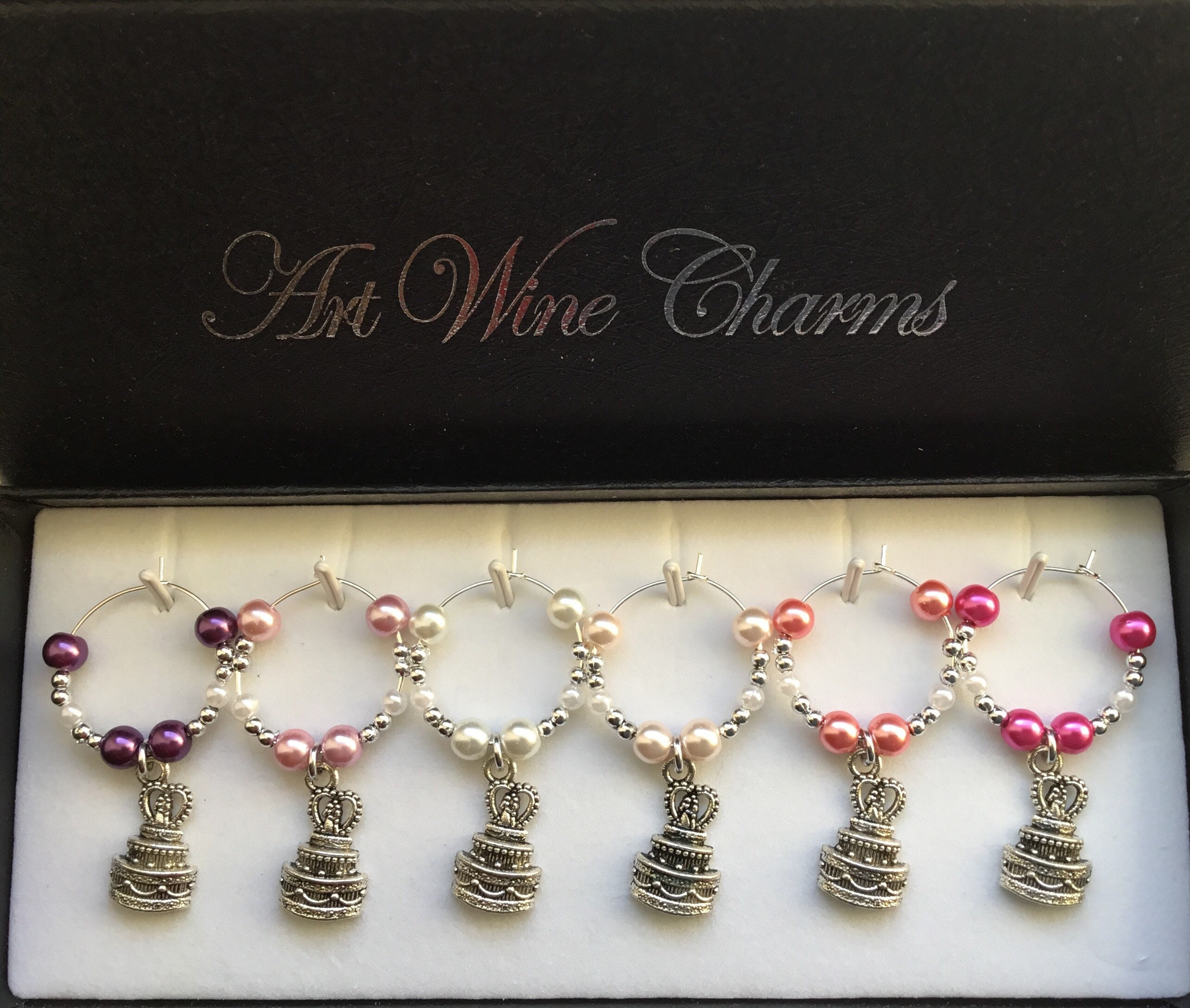 6 Wedding Cake Themed Wine Charms Party Bridal Shower Party