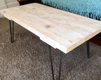 Reclaimed pale white wahed wooden coffee table