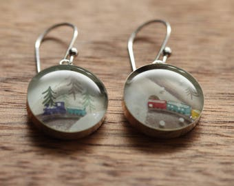 Winter train earrings made from recycled Starbucks gift cards. sterling silver and resin.