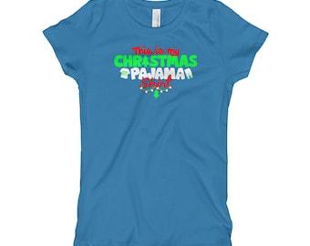This Is My Christmas Pajama Shirt Girl's T-Shirt // Merry Christmas Kids Shirt // Trendy Holiday Shirt // Christmas Gift For Kids