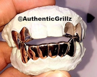 Authentic Custom 4 Teeth Top on Fangs and Incisors with Back Bar & 6 Teeth Bottom (10 Teeth) (All Fangs Are Extended for Top and Bottom)