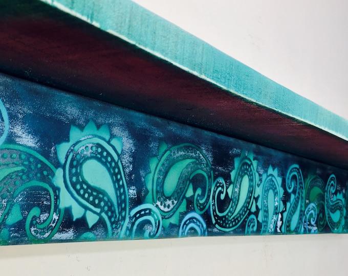 Paisley bookshelves /Custom bookcases /wooden bookshelf /floating shelves wall hanging book morrocan teal decor reclaimed wood geometric art