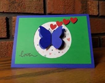 Sending Love Butterfly Card, Pink & Blue