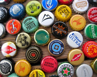 Man Cave Decor - 25 Beer Bottle Cap Magnets - Gifts for Guys - Gifts for Dad - Bar Decorations - Bottle Caps