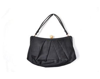 1950s clutch, 50s clutch, Evening bag, black Formal bag, vintage formal purse, evening purse, satin clutch, satin bag,, black clutch