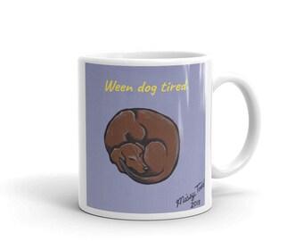 Weenie Dog Coffee Mug, Weenie Dog Art Mug, Funny Dachshund Mug, Sleeping Dachshund Art