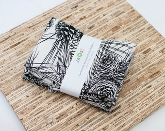 Large Cloth Napkins - Set of 4 - (N3222) - Black and White Pine Pinecones Modern Reusable Fabric Napkins