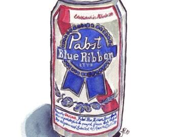 PBR Beer Watercolor Painting - Still Life - Pabst Blue Ribbon Beer Watercolor Art Print, 5x7