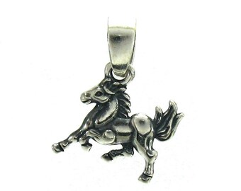 PE000908 Sterling Silver Pendant Charm Solid 925 Horse