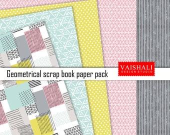 Resumen de patrones geomerical, multicolor, patrón, 5 hojas, impresiones digitales