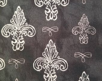 Black Fabric, Fleur Di Li - Black Cotton Fabric