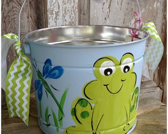 FREE SHIPPING!!! Easter Bucket, Personalized, Hand-Painted, Tin, Pail, Easter Pail, Frog, Boy, Boy Easter Basket