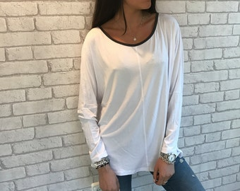 MOTHERS DAY GIFT, Casual Blouse for Women, Long Sleeves Blouse, Long Sleeve Shirt, White Blouse, Long Sleeved Blouse, Womens Clothes, Gifts